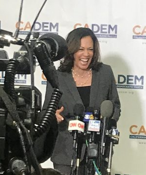 Presidential Candidate Kamala Harris At CADEMS press gaggle